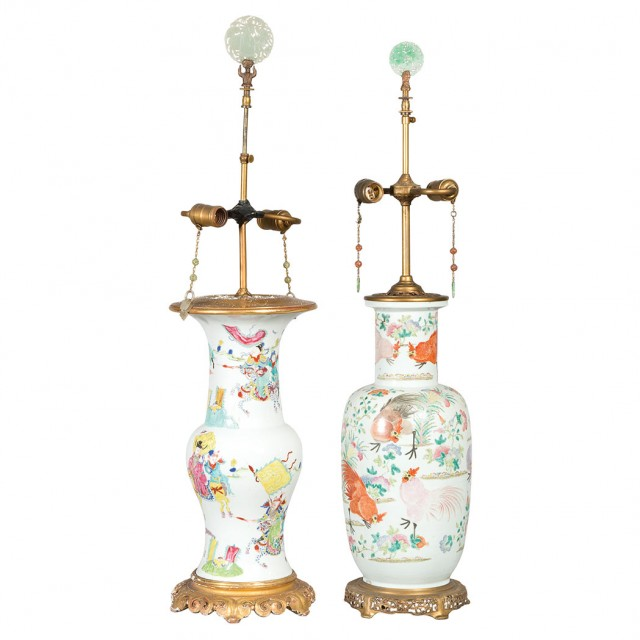 Two Chinese Famille Rose Porcelain Vases