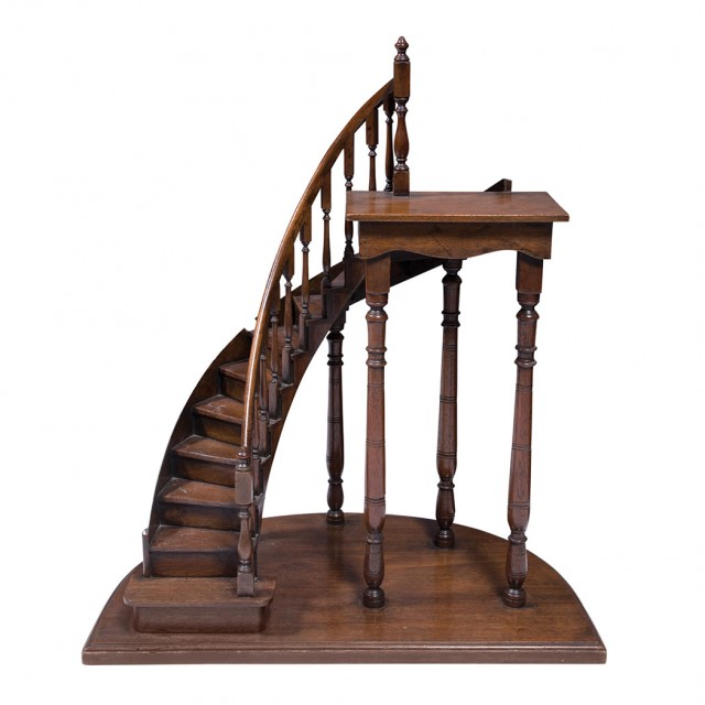 Model Of A Mahogany Miniature Spiral Staircase