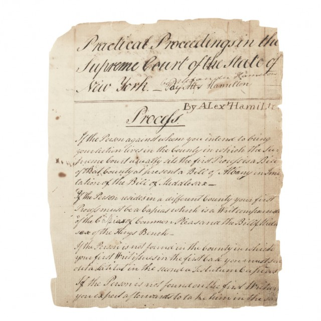 [MANUSCRIPT - HAMILTON, ALEXANDER]  Practical Proceedings in the Supreme Court of the State of New York