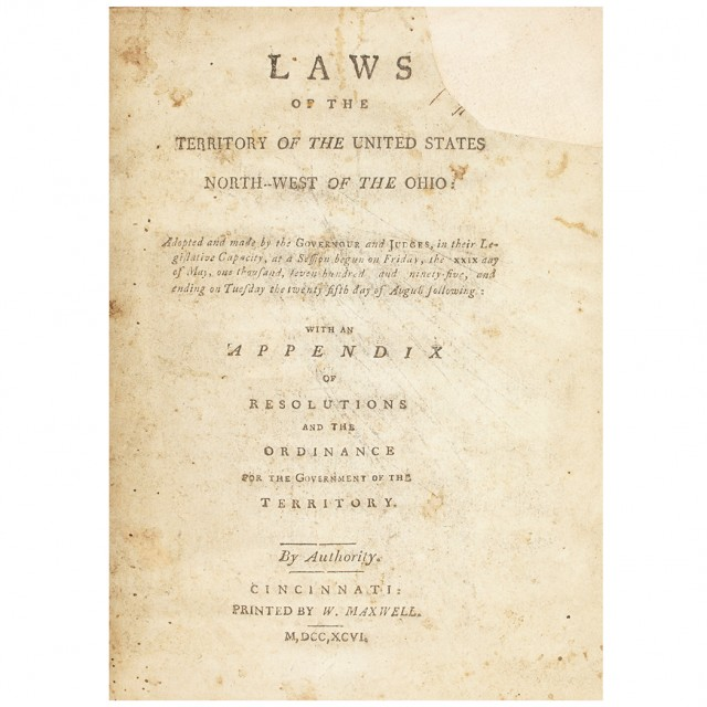 [NORTHWEST TERRITORY - MAXWELL'S CODE]  Laws of the Territory of the United States North-West of the Ohio