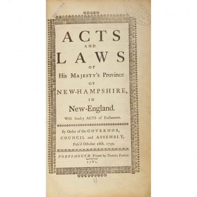 [NEW HAMPSHIRE] Acts & Laws of His Majesties Province of New Hampshire in New-England. With Sundry Acts of Parliament. By order...