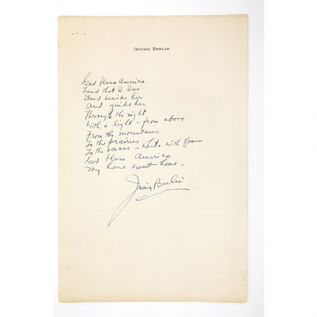 BERLIN, IRVING  Autograph stanza from God Bless America