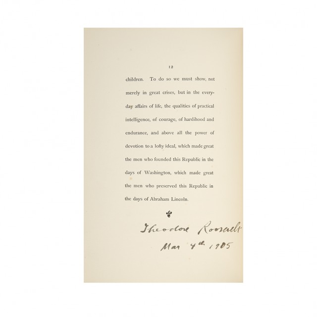 ROOSEVELT, THEODORE  Inaugural Address of President Roosevelt, March 4 1905