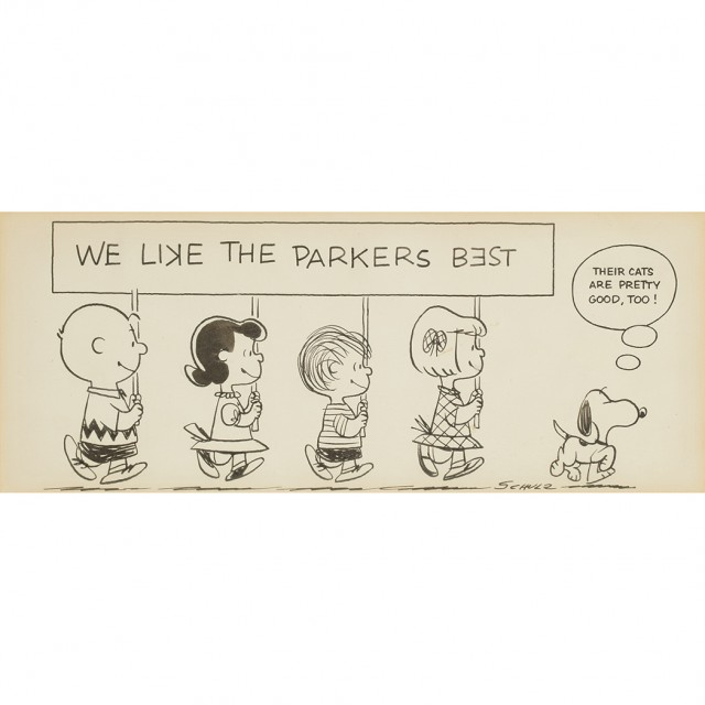 "SCHULZ, CHARLES  Original drawing ""We like the Parkers Best"""