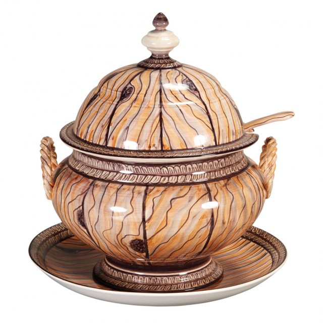 Portuguese Faux Wood Painted Covered Tureen and Stand