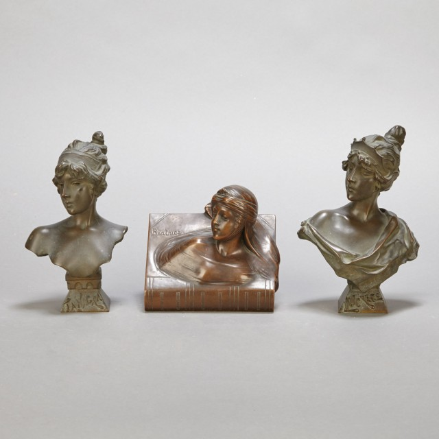 Two French Miniature Bronze Busts of Tanagra and Lucrece for Sale at