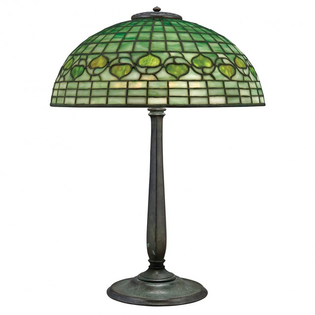Tiffany Studios Bronze and Leaded Favrile Glass Acorn Lamp