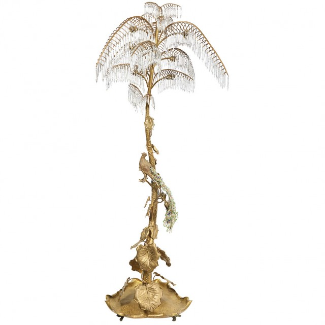 Continental Art Nouveau Style Gilt-Metal and Glass Floor Lamp