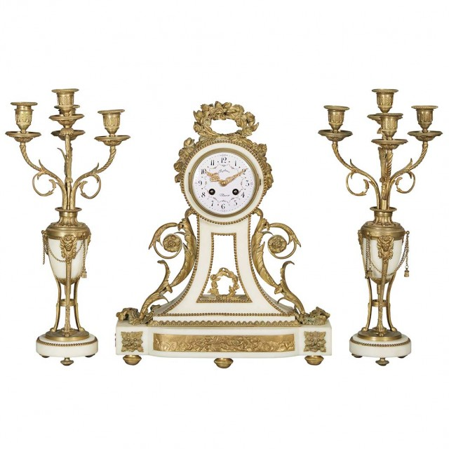 Assembled Louis XVI Style Gilt-Bronze and White Marble Clock Garniture