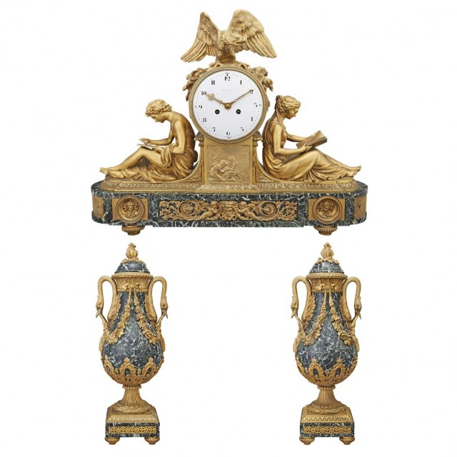 Tiffany and Co. Louis XVI Style Gilt-Bronze and Green Marble Clock Garniture