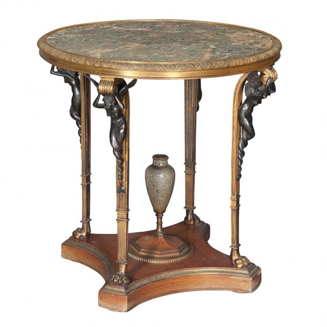Empire Style Gilt and Patinated-Bronze Mounted Center Table