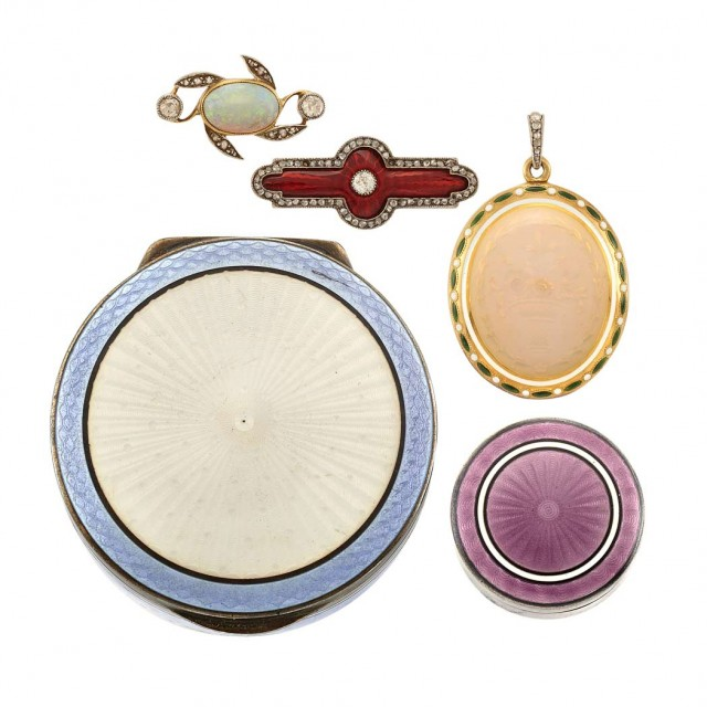 Antique Locket and Pendant and Two Russian Guilloche Enamel Boxes and Pin