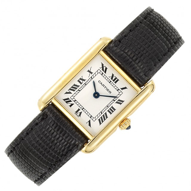 Ladyand#39;s Gold and#39;Tankand#39; Wristwatch, Cartier, Paris