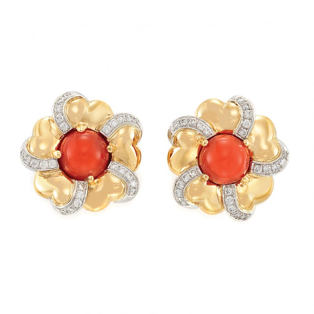 Pair of Gold, Coral and Diamond Flower Earclips