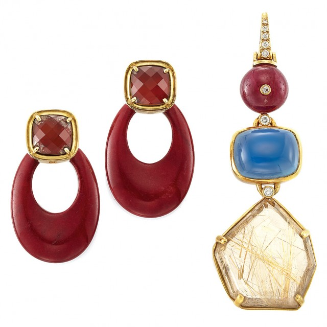 Gold, Ruby Bead, Dyed Blue Chalcedony, Rutile Quartz and Diamond Pendant and Pair of Gold, Carnelian and Jasper Pendant-Earclips, Andrew Clunn