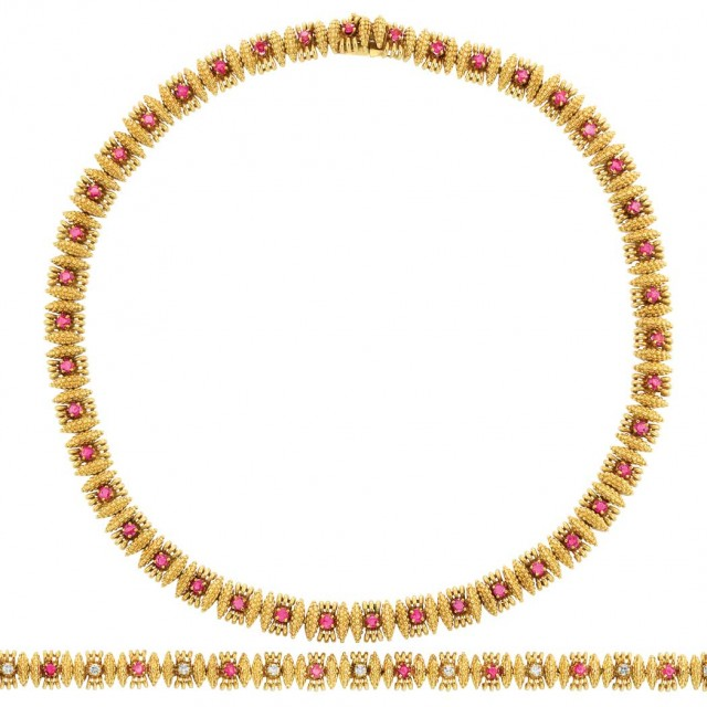 5d10a55ce68f9 Gold and Ruby Necklace, Tiffany & Co., and Gold, Ruby and Diamond ...