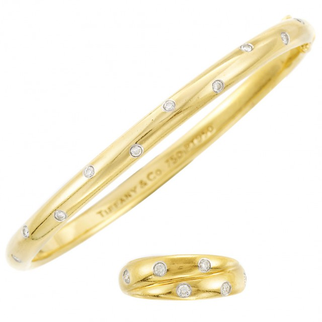 Gold, Platinum and Diamond and#39;Etoileand#39; Bangle Bracelet and Band Ring, Tiffany and Co.