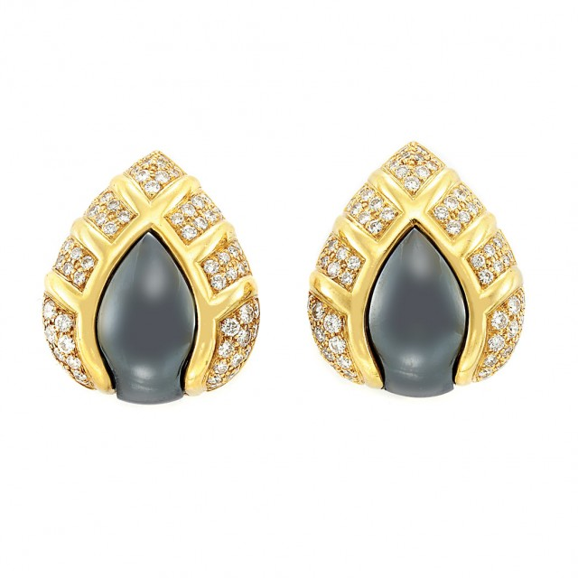Pair of Gold, Hematite and Diamond Earclips, Bulgari