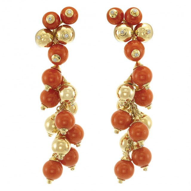 Pair of Gold, Coral Bead and Diamond Fringe Pendant-Earrings