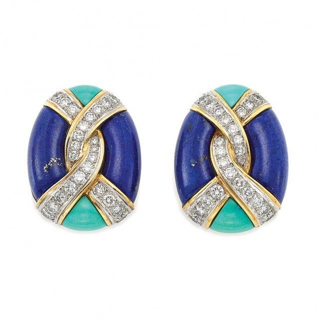 Pair of Gold, Diamond, Lapis and Turquoise Earclips