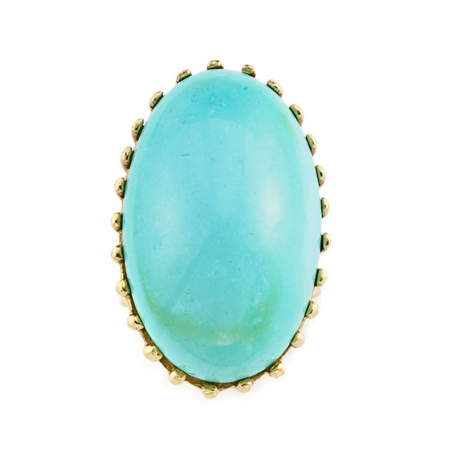 Gold and Cabochon Turquoise Ring