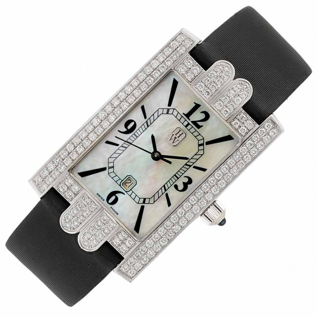 Lady's White Gold, Mother-of-Pearl and Diamond 'Jumbo Avenue' Wristwatch, Harry Winston