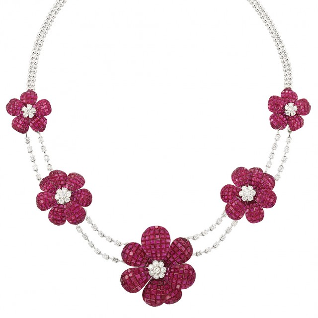 White Gold, Diamond and Invisibly-Set Ruby Flower Necklace