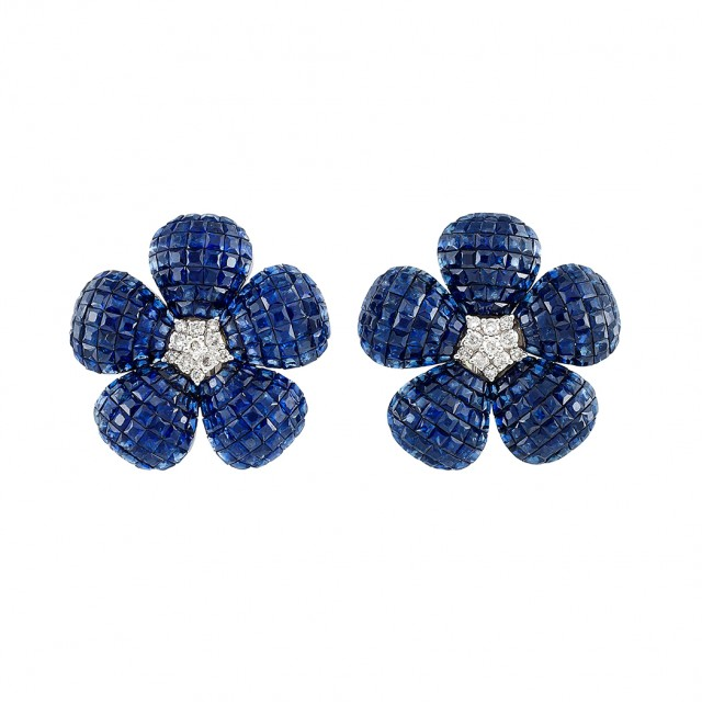 Pair of White Gold, Diamond and Invisibly-Set Sapphire Flower Earrings
