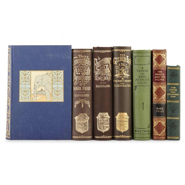 FINE BINDINGS] TWAIN, MARK. Group of four early editions in custom cloth...