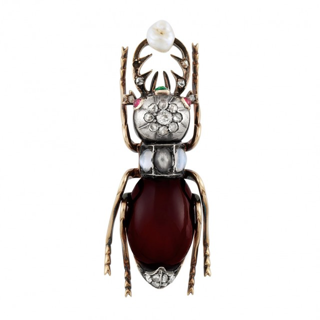 Antique Gold, Silver, Cabochon Garnet, Diamond, Gem-Set and Baroque Freshwater Pearl Beetle Brooch