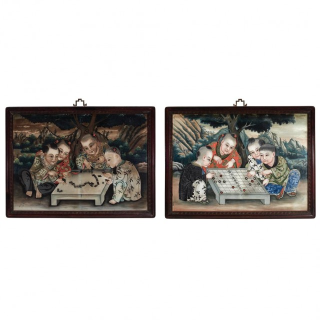 Pair Of Chinese Reverse Glass Paintings For Sale At Auction On Mon
