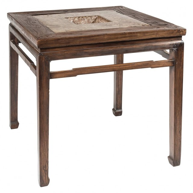 Chinese Puddingstone Inset Elm Brazier Table