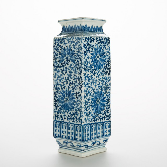 Chinese Blue and White Glazed Porcelain Square Section Vase
