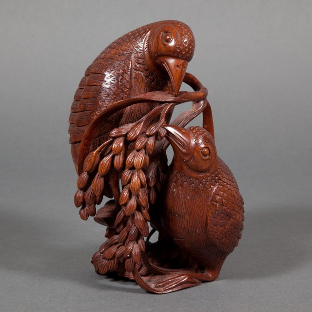Chinese boxwood carving of two quail for sale at auction