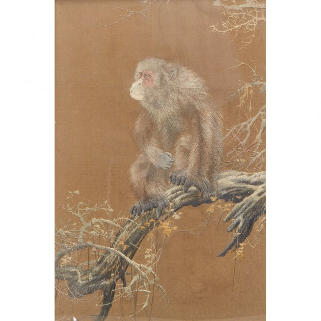 Japanese Silk Embroidery Depicting a Monkey