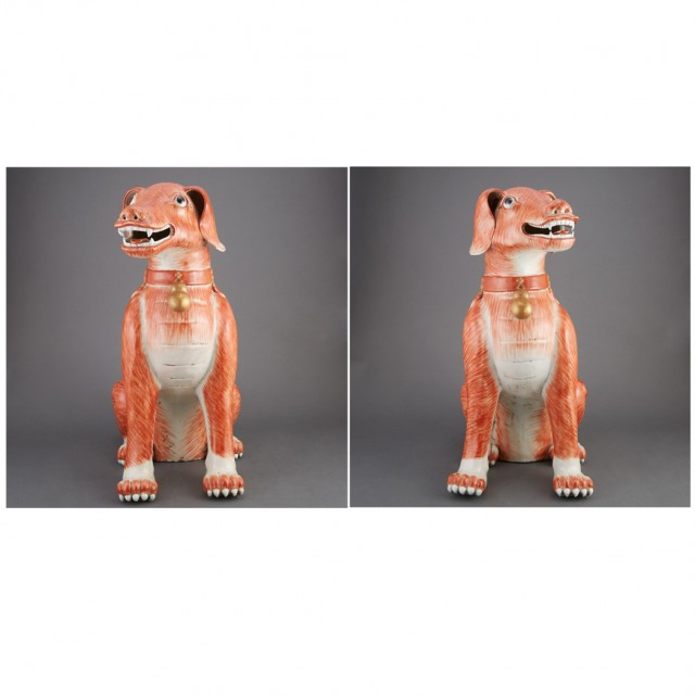 Pair of Chinese Export Iron Red Glazed Porcelain Figures of Dogs