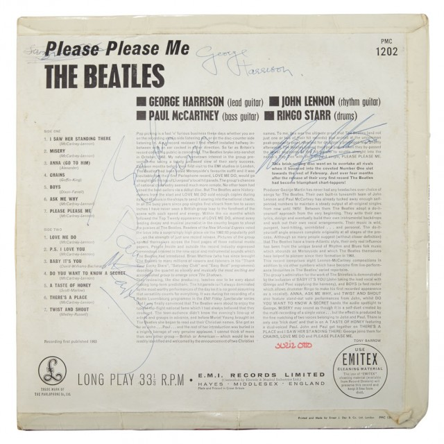 THE BEATLES  Please Please Me record sleeve signed by all four band members