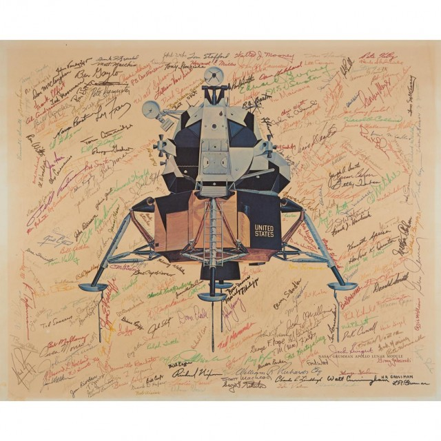 [SPACE]  Large lithograph of the Grumman-designed Apollo Lunar Module signed by dozens of Astronauts, NASA and Grumman Officials and Several Notables
