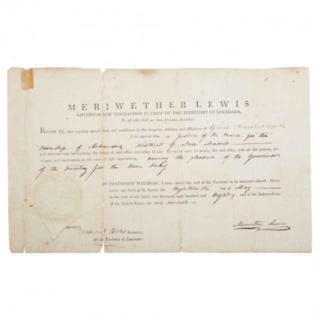LEWIS, MERIWETHER  Document signed as the Territorial Governor of Louisiana appointing George Armistead Justice of the Peace in the Arkansas Township