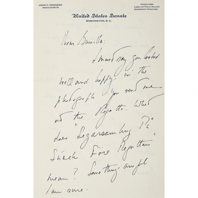 KENNEDY, JOHN FITZGERALD  Group of autograph letters to Gunilla von Post