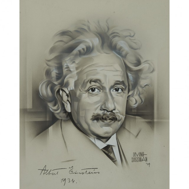 EINSTEIN, ALBERT  Portrait of Einstein in grisaille rendered in airbrush on illustration board by Irving Sussman, signed and dated 1934