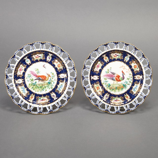 Pair of Booths Bird Decorated Porcelain Dessert Plates