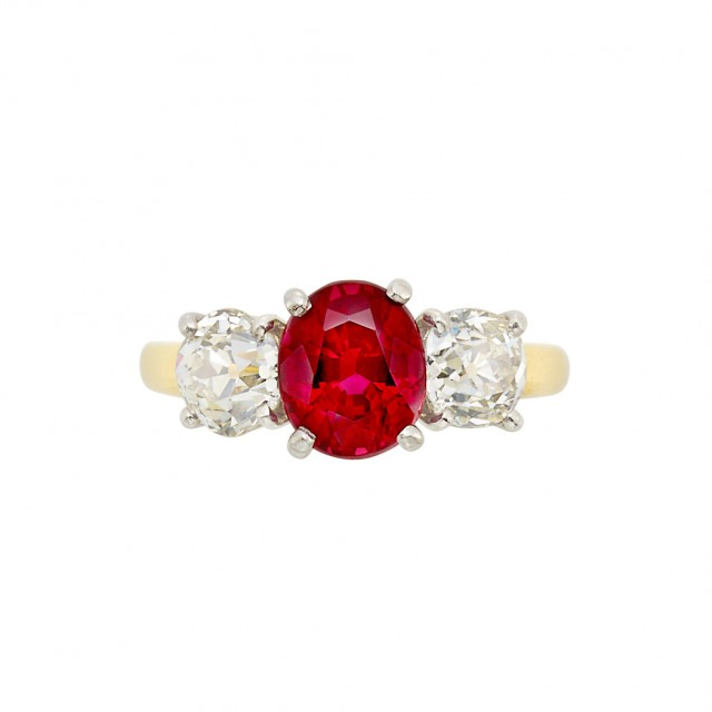 Gold, Platinum, Red Spinel and Diamond Ring