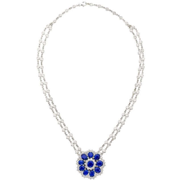 Double Strand Platinum, Diamond and Sapphire Pendant Chain Necklace