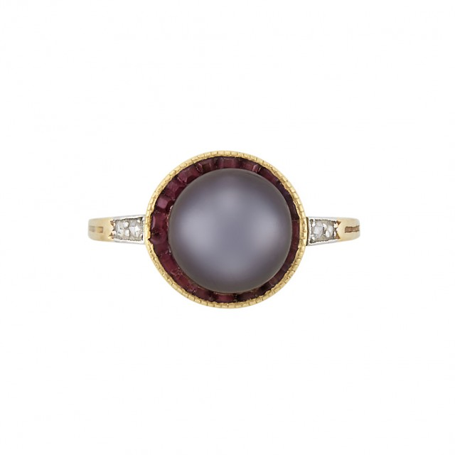Antique Gold, Platinum, Natural Gray Button Pearl, Ruby and Diamond Ring, Cartier
