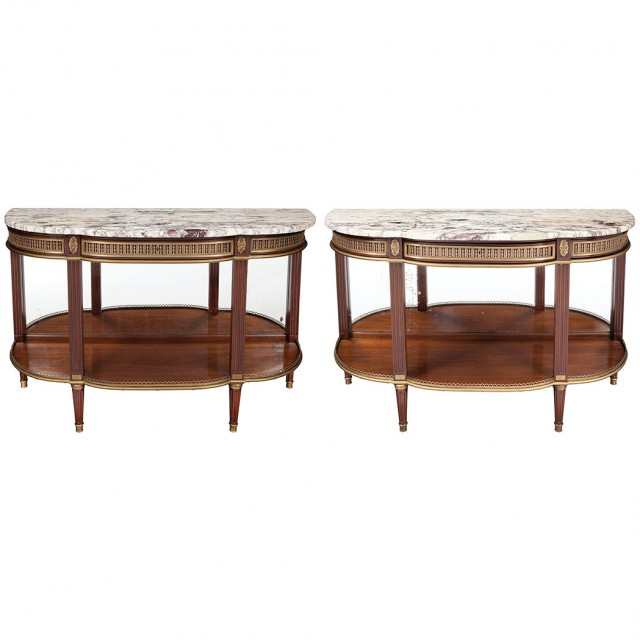 Pair of Louis XVI Style Gilt-Metal Mounted Mahogany Console Dessertes