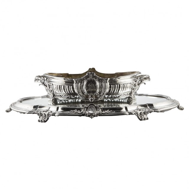 French Silver Centerpiece and Mirrored Plateau