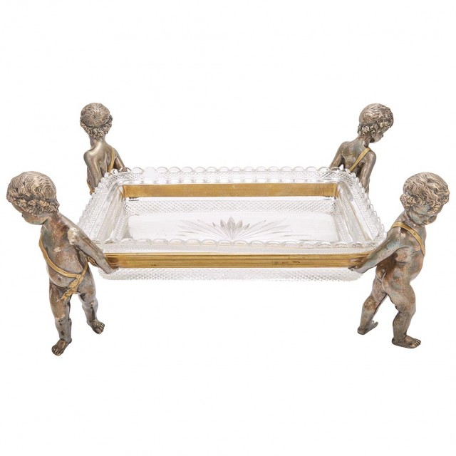 Baccarat Gilt and Silvered Bronze, Molded and Cut Glass Centerpiece