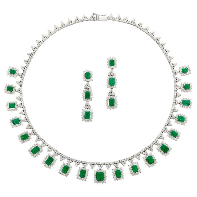 White Gold, Emerald and Diamond Fringe Necklace and Pair of Pendant-Earrings