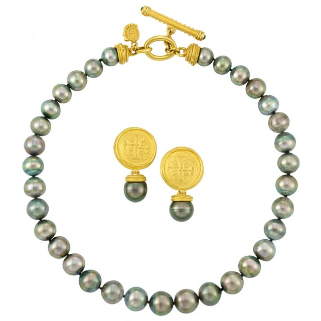 Tahitian Gray Cultured Pearl Necklace with High Karat Gold Toggle Clasp and...
